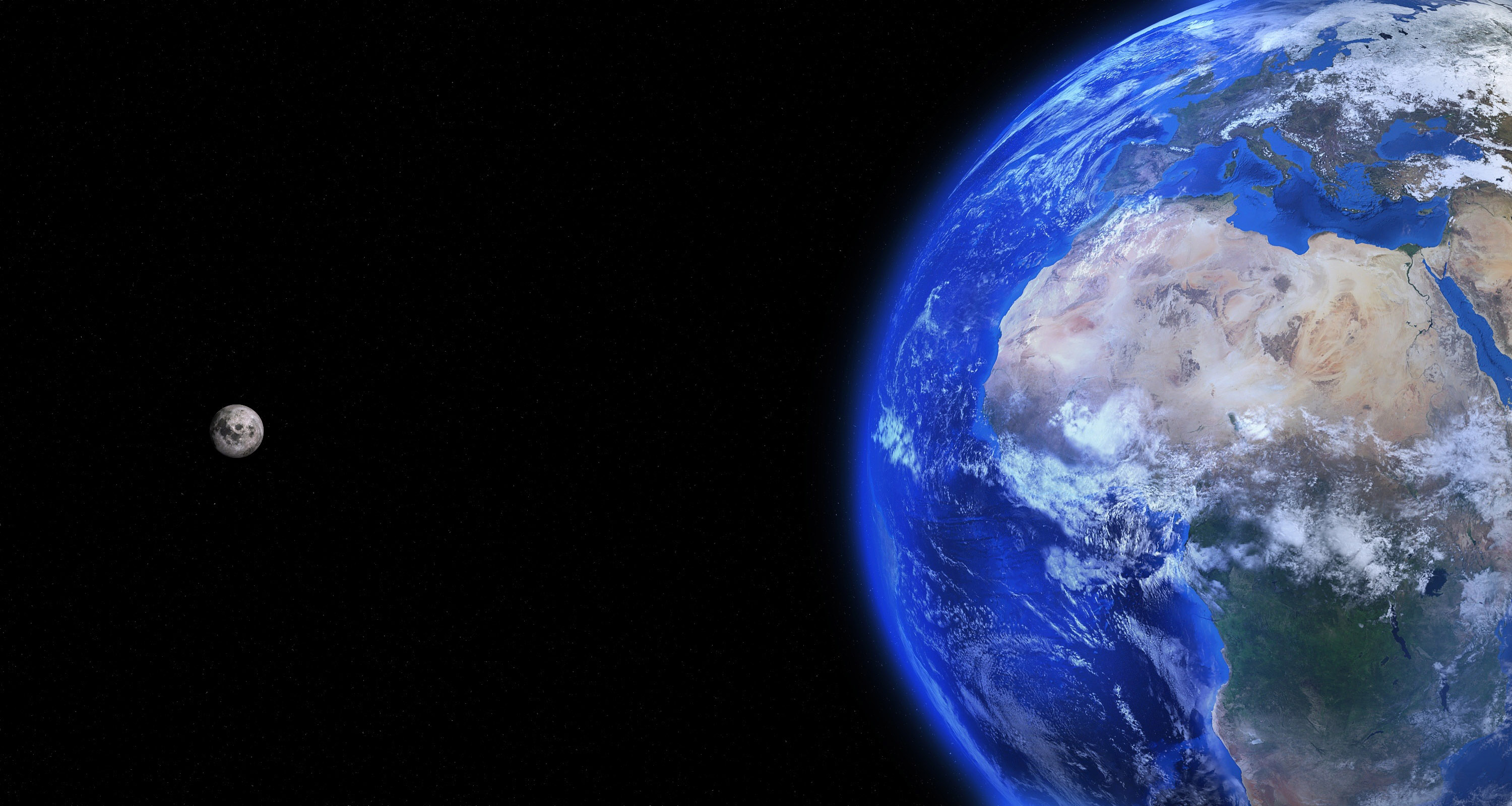 The Moon and Earth in space